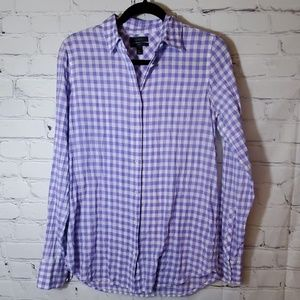 J Crew Purple & White Gingham Button Down
